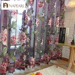Cortinas moradas de flores online-La nueva cortina clásica clásica de flores para ventanas, para personalizar productos terminados, cortina de tul púrpura