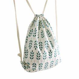 Argentina 2018 Mochilas de lazo de algodón de lino Banana Cat Air impreso mujeres Kid PE bolsas harajuku Travel Beach Bag al por mayor cheap airplane bags wholesale Suministro
