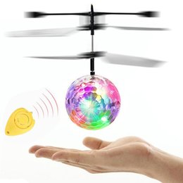 Wholesale drone battery charger - RC Flying Ball LED Flashing Helicopter Remote Control Aircraft Infrared Induction Mini Drone with Colorful Lights toy RC airplane lights