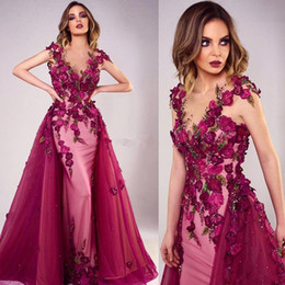 2018 Fuchsia 3D Rose Floral Mermaid Prom Dresses Beaded Sheer Jewel Neck  Appliqued Evening Gowns Vestidos De Fiesta With Detachable Train da50ae5a8cc8