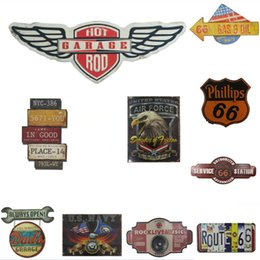 Wholesale living room sign - 2018 Retro Wall Sticker USA Route 66 Tin Sign Metal Painting Beer Bar Decorative Home Decor Art Craft Plaques Decoration