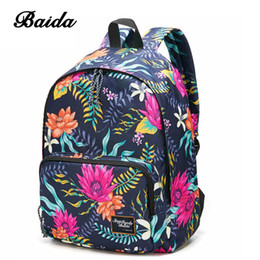 Wholesale Fashion Bag Online - Water Lily Printing Girls Backpacks Cool Rope Zipper Daypack Bags Best Online Day Pack For Women