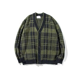 Wholesale Korean Style Wool Coat - England style cardigan men fashion casual movement plaid teen trendy Korean loose wild V-neck sweater coat Manteau
