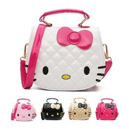 Wholesale Child Leather - 2018 New Year Gift Kids Purse Cat Children Cartoon PU leather Bag Crossbody Single Shoulder Bag Handbag Baby Mini Bag Cute Design