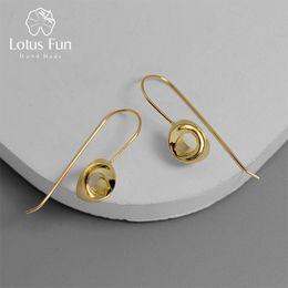 brincos estereoscópicos Desconto Lotus Fun Real 925 Sterling Silver Criativo Designer Fine Jewelry Minimalismo Stereoscopic Semicircle Dangle Brincos para As Mulheres