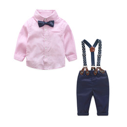 Wholesale Baby Boy Tie Bibs - Autumn Baby Boy Clothes Baby Clothing Suit Gentleman Style Bow Tie + Plaid Shirt + Bib Baby Boy Clothing Set Free Shipping