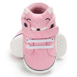 Zapato suave rosa bebé online-Cute Cartoon Bear Fox baby boy girls Zapatos Animales Canvas Sneaker antideslizante Soft Sole Toddler shoes sports pink negro