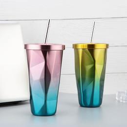 Diamante de chá on-line-Aço inoxidável Gradiente Copa com tampa e Diamante Straw Forma caneca de viagem de aço inoxidável Cup Água chá canecas