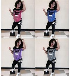 Wholesale Jumpsuits Slim - Voghtic Women Short Sleeve Pink Letter Printing 2Pcs Outfits Spring Crop Top Bodycon Long Pant Set Jumpsuit Sport Sweatsuit 8Color S-3xl hot