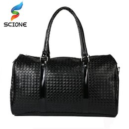 45a530894d2f 2018 Hot Embossing Knitting Pattern PU leather Travel Handbag For Men Women  Outdoor Sports gym bags Large Capacity sac a main