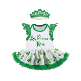Wholesale crowning dress girls - St.Patrick's Day Dresses Set For Baby Girls Lace Flying Sleeve Shamrocks Printed Tutu Dress+Crown Hairband+Baby shoes 0-24M