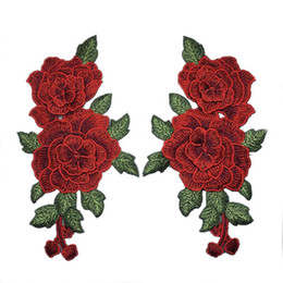 Wholesale Patches Flower Clothing - 1Pair NEW Rose Flowers Embroidered Patch Iron on for Clothing Applique DIY Sewing