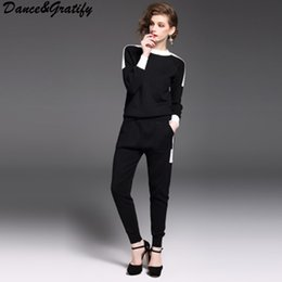 Wholesale trousers women elegant - Dance&Gratify Knitted Casual Tracksuit Pant Suits 2017 Fashion Elegant 2 Piece Set Women Pullover Sweater And Trousers Set