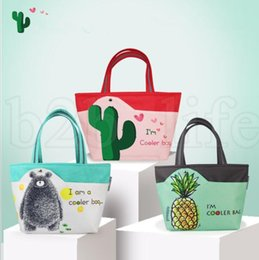 Wholesale lunch tote wholesale - Cooler bag School Picnic Lunch Box Cactus pineapple print Portable Food Storage Outdoor Picnic Cooler Container mommy bag LJJK1020