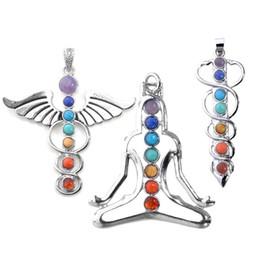 "Wholesale Rhinestones Make Necklace - vogue 7 chakra healing stones pendant for necklace making,3 style- yoga angel sword,2.3""-2.5"""