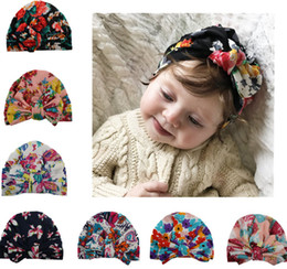 9316a1bfe58 crochet baby turban hat 2019 - Newborn Soft Baby Hats Knotted Bowknot  Flower Print Cotton Caps