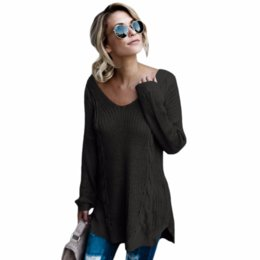 ed6747c060 2017 Casual V-neck Sexy Knitted Jumpers Back Lace Up Women Sweaters and Pullovers  Autumn Winter Twist Long Pullover Female