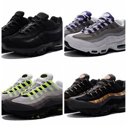 Wholesale neon black - 2018 New Cheap Mens sports 95 running shoes,Premium OG Neon Cool Grey sporting shoes sneakers size 36-46