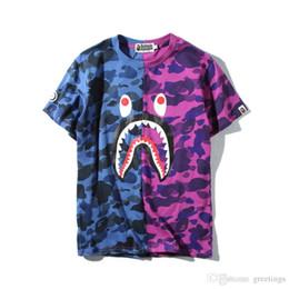 2020 Hot Bleu Violet Shark Camo Brochage T-shirt Hommes Femmes ras du cou en coton coton imprimé manches courtes T-shirts Tailles M-2XL ? partir de fabricateur