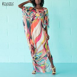 c61fc927ad86 ZANZEA 2018 Summer Dress Women Boho Dresses Sexy O Neck Half Sleeve Loose  Floral Print Beach Maxi Long Dress Oversized Vestido oversized maxi dress on  sale