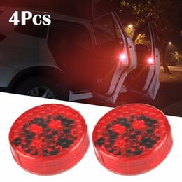 luz de advertência estroboscópica led 12v Desconto 4 PCS Car-Styling LED Light Anti Colisão Porta Do Carro Strobe Lightning Rearing Aviso StickerFor Luxel Golf5