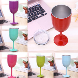 Wholesale red wall tiles - 304 Stainless Steel Vacuum Wine Glass Cup 10oz 9 Colors Double Wall Insulated Metal Goblet With Lid Red Wine Mugs