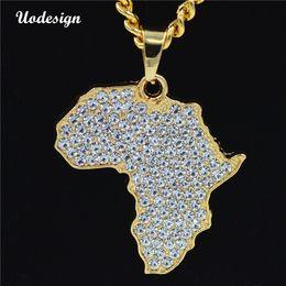2019 africa mappa pendente d'oro Hiphop Africa Mappa Pendente Collana Bling strass di cristallo color oro catena Hip Hop per gli uomini / donne regalo africano all'ingrosso di gioielli sconti africa mappa pendente d'oro