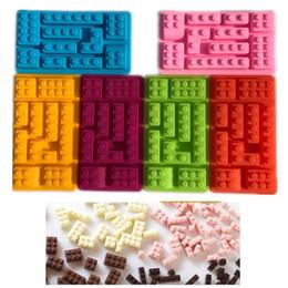 bolo de spray grossista Desconto 10 furos lego blocos de tijolos em forma de retangular diy molde de silicone de chocolate bandeja do cubo de gelo ferramentas bolo moldes fondant