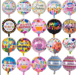 Wholesale happy flowers - 18inch Kids HAPPY BIRTHDAY THEME foil balloon party decoration balloon flower cartoon printed Party decoration KKA5086
