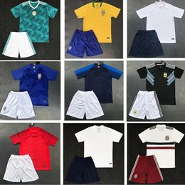 Wholesale germany clothes - New National Team Soccer Jersey Brazil Germany Spain Argentina Home and Away Jersey Training Clothing Set
