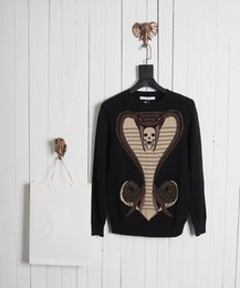 Wholesale knitted skull sweater - 2017 Top quality Winter Cotton sweater cobra skull print High quality streets Black red