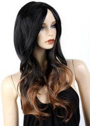Wholesale korean wigs women - Korean Wigs Women Long Black Mixed Brown Ombre Wigs Synthetic Cosplay Anime Wigs free shipping