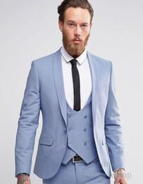 pantaloni di vestito dal cielo blu degli uomini Sconti 2018 Trend of Custom Slim da uomo casual blu cielo 3 pezzi da cerimonia nuziale vestito da lavoro (GIACCA + PANTALONI + GILET)