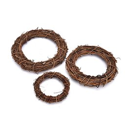 Wholesale christmas wreath wholesalers - HENGHOME 1Pcs 10cm 15cm 20cm Christmas Wedding Wreaths Decoration Garland Material Rattan Wreath DIY Wreath Party Decoration