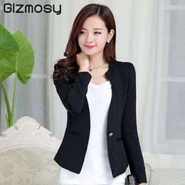 1c0f8b6b021b4 Gizmosy Spring Women Slim Blazer Coat 2018 Plus Size Casual Jacket Long  Sleeve One Button Suit Lady Blazers Work Wear BN026 S930