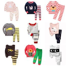 Wholesale Home Clothes Sleepwear - 100 Designs Kids Pajama Sets Spring Autumn Dinosaur Zebra Bear Car Letters Cartoon Printed Long Sleeve Home Clothing Boys Girls Sleepwear