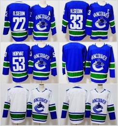 Wholesale Hockey 33 - 2018 New Vancouver Canucks Hockey Jerseys 33 Henrik Sedin 22 Daniel Sedin 53 Bo Horvat Home Blue Jerseys Stitched Logo