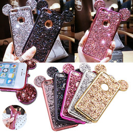 Wholesale wholesale 3d cell phone cases - Luxury Glitter Bling Cellphone Case Hybrid Soft TPU 3D Mouse Ears Full Cover Cell Phone Cases For iPhone 8 X 7 6plus Samsung S6 S7 EDGE S8