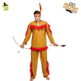 trajes indios americanos Rebajas Adultos Hombres Indios Nativos Americanos Disfraz Fiesta de Halloween Disfraces Decoraciones Ropa Cosplay Indios Disfraces sexy