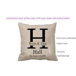 Cojines personalizados online-Funda de almohada con diseño de aniversario de amor Funda de cojín Personalizar Personalizar Funda de almohada cuadrada con el apellido de la pareja Fecha establecida Memoria