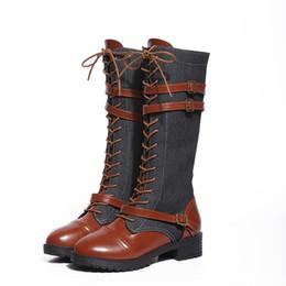 Горячая продажа 2018 осень шнуровка колено высокие сапоги женская мода квадратный каблук женщина искусственная кожа езда сапоги обувь зима плюс размер 35-43 от