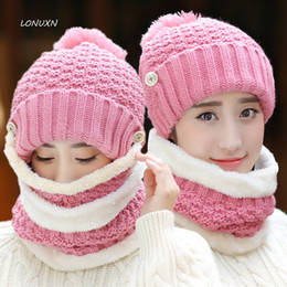 00cd0839267d84 10 syles 3 pieces lot High quality Hat winter cotton knitted warm thick  girls outdoor winter Scarf, Hat & Masks Sets wool cap