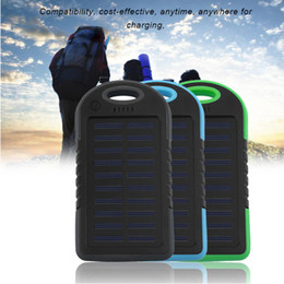 Wholesale Battery Iphone Mah - 5000 mah Portable Solar Charger Battery Travel Power Bank Waterproof And Shockproof Dual USB Battery For The Iphone 5S Sumsang