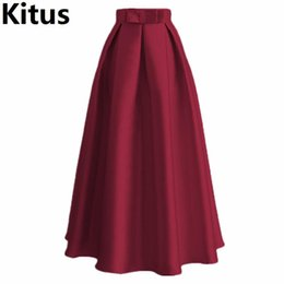 2018 Summer Pleated Long skirt Womens High waist Maxi Skirts Fashion Black  Red casual Skirt with bow tie Plus Size Jupe Faldas 753820149