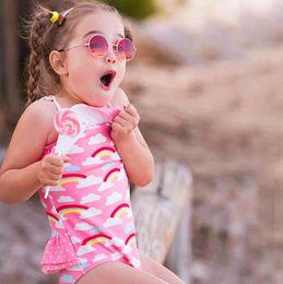 WUAI Baby//Toddler Girls Swimsuit One Piece Swimwear Sleeveless Ruffled Dot Printed Bikini Beachwear