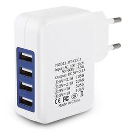 Разъемы для сотового телефона онлайн-США ЕС Plug Travel Home Wall Зарядное устройство 4 порта USB Адаптер для зарядки мобильных телефонов GPS и т. Д. Мобильные устройства