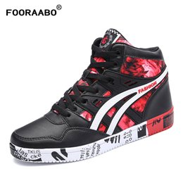 Wholesale Hip Hop High Top Sneakers - Fooraabo 2017 New Print Luxury Mens Casual Shoes Flat Autumn Winter Hip Hop High Top Men Sneaker PU Leather Shoes Big Size:38-45
