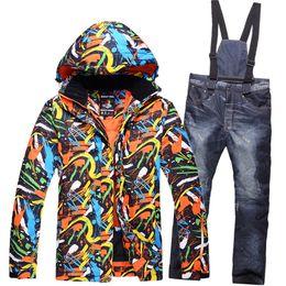 Wholesale Women S Pink Ski Pants - -30 DEGREES mens ski suits thermal skiing jacket + pant men snow suit snowboard wear winter ski clothing set for male
