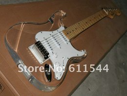 Wholesale Glass Guitars - New Arrival Transparent Stratocaster Glass Electric Guitar High Quality Free Shipping