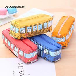 Wholesale Cars School Bus - Kawaii School Bus Pencil Case Large Capacity Canvas Car Pencil Bag School Stationery Papalaria Student Gifts